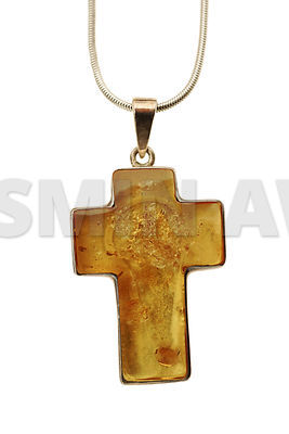 Old silver Necklace with amber cross pendant