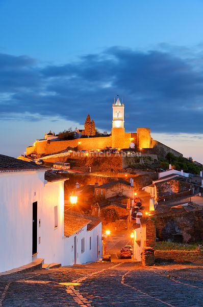 The medieval walled village of Monsaraz at twilight. Alentejo, Portugal