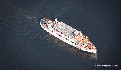 aerial photograph of the pleasure cruiser Swann on Lake Windermere in the Lake District Cumbria England UK