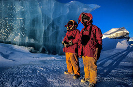 Antarctic Expeditioners in front Jade Iceberg