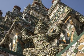 Detail from Wat Arun (Temple of the Dawn) in the Bangkok Yai district of Bangkok, Thailand, on the Thonburi west bank of the Chao Phraya River. The full name of the temple is Wat Arun Ratchawararam Ratchawaramahawihan.