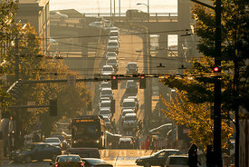 Looking down at the traffic on Seneca street in Seattle, Washington on a bright sunny day.