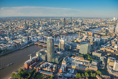 Aerial view of Southwark / The Borough, London. One Blackfriars and Blackfriars Bridge, River Thames, London.