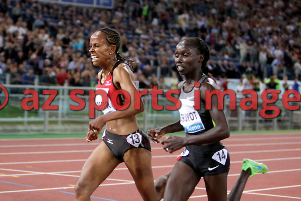 2012 Rome Golden Gala - Rome Diamond League,5000 Metres.Vivian Jepkemoi Cheruiyot from KEN wins the race 14:35.62..Meseret Defar ETH 14:35.65second place