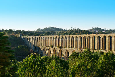 The 16th century Pegoes aqueduct (Aqueduto dos Pegões), 6 km long, that provides water to the Convent of Christ, a UNESCO World Heritage Site. Tomar, Portugal
