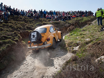 a VW Beetle climbs the steep and rough Blue Hills section of the MCC Land's End Trials