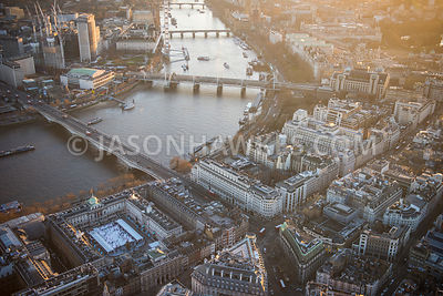 Aerial view of London, Somerset House towards Royal Festival Hall.
