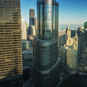 View looking northeast of downtown Chicago including the Trump International Tower and 330 N Wabash Ave, Chicago, Illinois, USA