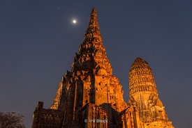 Wat Chaiwatthanaram, a Buddhist temple in the city of Ayutthaya, Thailand at night.  One of Ayutthaya's best known temples.