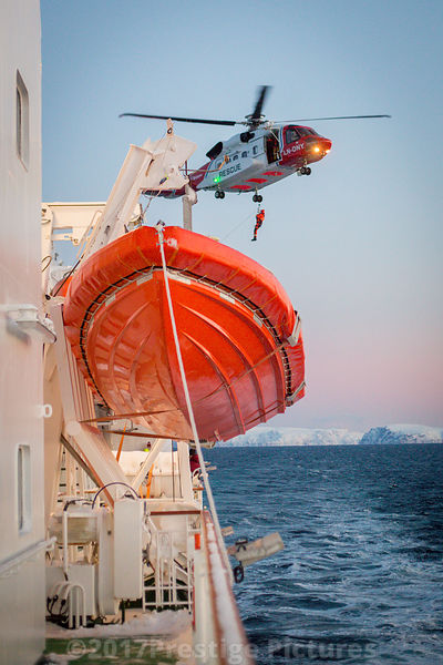 Bristow operated Norwegian Search and Rescue Helicopter Service on Exercise with Hurtigruten Ship Richard With