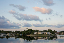 Morning view of lake and houses in North Miami beach.