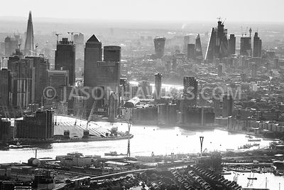 Late afternoon, with a view over Silvertown and the 02, to Canary Wharf and the City of London