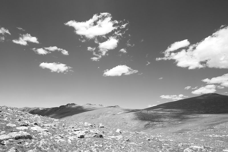 HIGH TUNDRA ROCKY MOUNTAIN NATIONAL PARK COLORADO BLACK AND WHITE