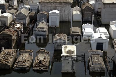 Above-ground New Orleans cemetery flooded after Katrina