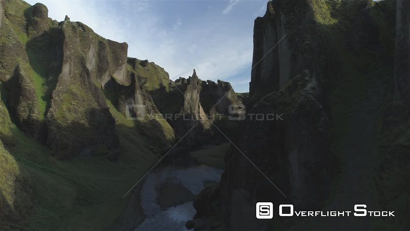 Fjadragljufur River Canyon, Steep Rock Walls, Rising Hovering Aerial Shot, Iceland