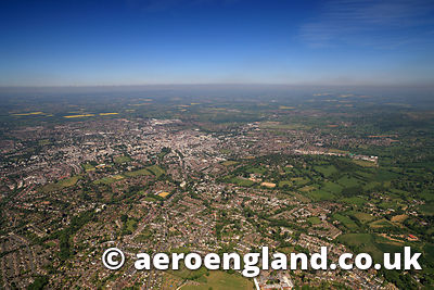 aerial photograph of  Cheltenham Gloucestershire  England UK