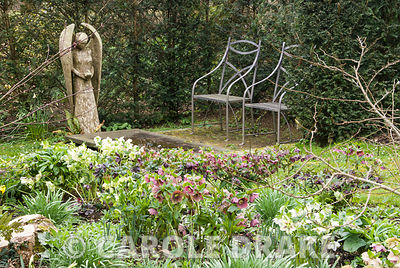 Angel carved by John Aulman from yew wood stands over a fountain of slate and granite made by Matt Robinson, seen across a bed full of hellebores, primroses, pulmonaria and ferns. Caervallack Farm, St Martin, Helston, Cornwall, UK