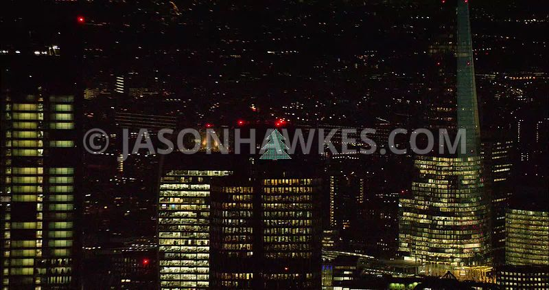 London night aerial footage, The Shard at night