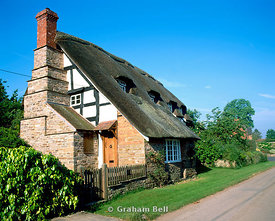 thatched cottage, hampton bishop near hereford, herefordshire.