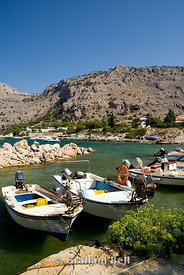 boats and mountains, pefkos, lindos, rhodes,, dodecanese islands, Greece.