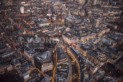 Aerial view of London, Piccadilly Circus from Soho and Mayfair at night time.