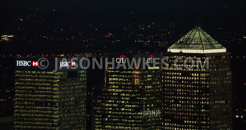 London Aerial Footage of Docklands at night.