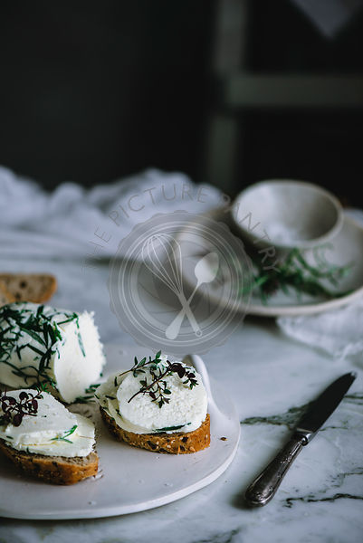 Homemade herb butter on toast