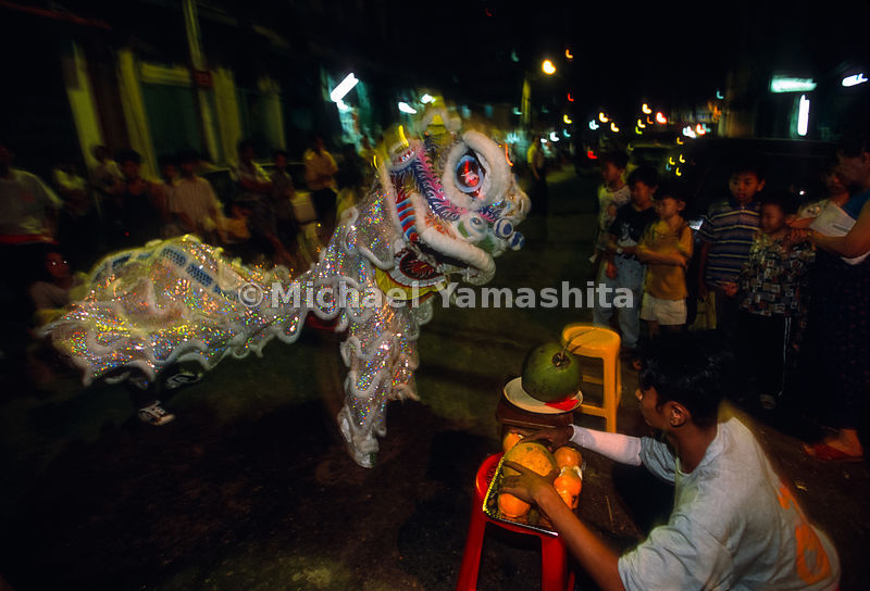 China Town New Year celebration. Lion dancing..Yangon, Myanmar