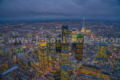 Aerial view looking south over the City of London towards the Shard