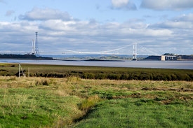 First Severn Bridge from the Wales Coast Path near Chepstow, Monmouthshire, South Wales.