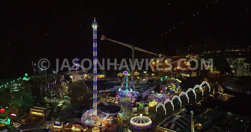 Aerial footage of London Winter Wonderland at night