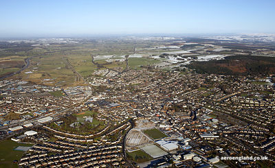 Panoramic wide angle aerial photograph of Penrith Cumbria England UK