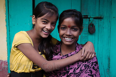 Portrait of two girls in the Fakir Bagan neigborhood of Howrah, India, in an area served by the NGO Calcutta Kids (calcuttakids.org)