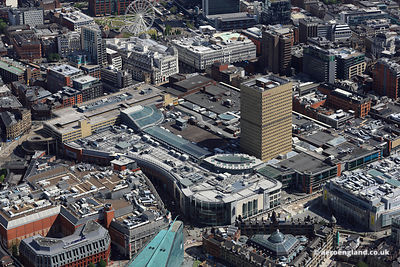 aerial photograph Manchester Arndale Shopping Centre Manchester M4 3AJ,  England UK.