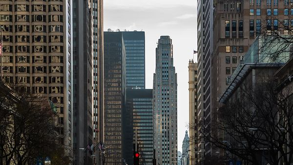 Medium Shot: Panning Downward For Rush Hour On Michigan Avenue
