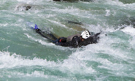 Hydrospeeder (AKA Riverboarder) on Soča river (last rapids section)