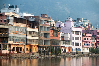 Ashrams and hotels on the Ganges River, Haridwar, India
