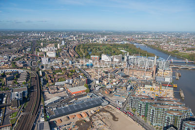 Aerial view of Battersea Power Satation, Battersea, Riverlight, London.