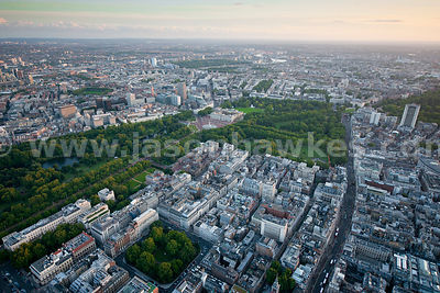 Aerial view over Buckingham Palace, London