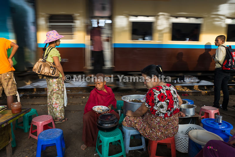 An early morning scene at Danyingon station on the Yangon Circular Railway line.