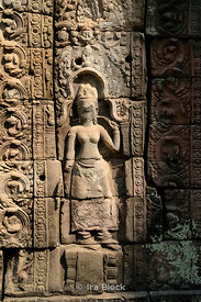 A detail at Ta Prohm Temple (Wat) built in the 12th century for King Jayavarman VII in Siem Reap Cambodia.