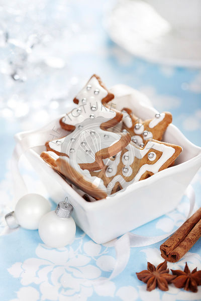 Christmas cookies with cinnamon, anise and decorations
