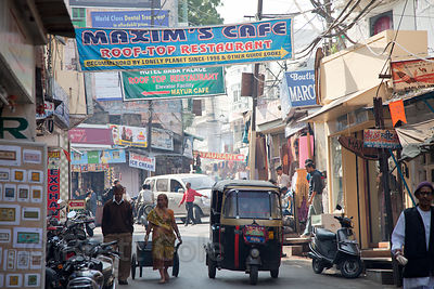Area of Udaipur overrun with touristic signs, Rajasthan, India
