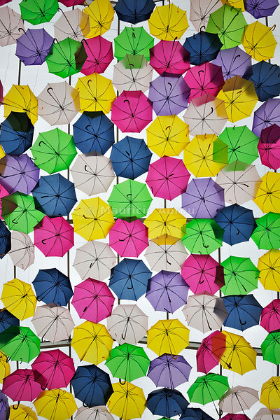 Umbrella Sky Project in the streets of Águeda, by Sextafeira Produções. Portugal