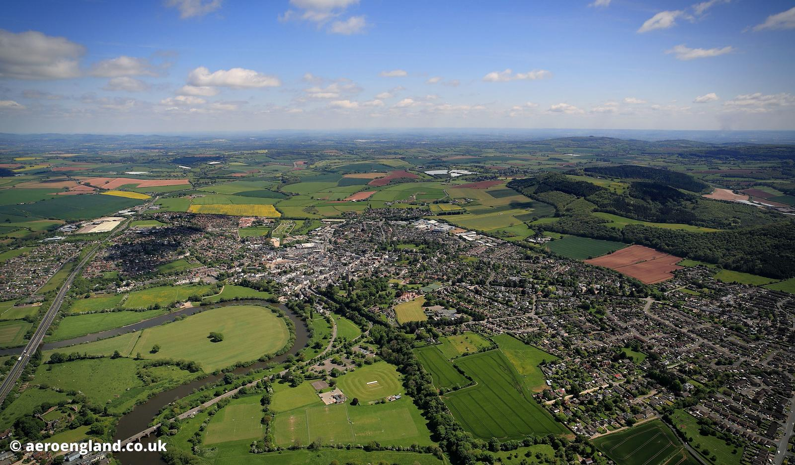 aerial photograph of Ross-on-Wye Herefordshire England UK
