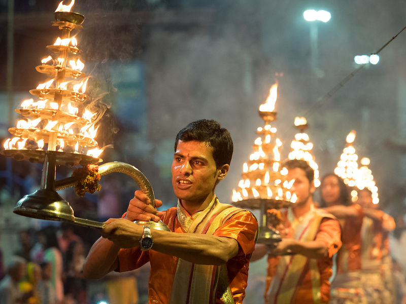 Evening aarti at the ghats of Varanasi