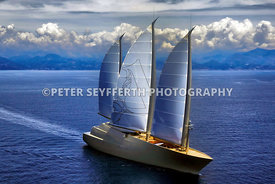 Luftaufnahme, Sailing Yacht A segelt erstmals an der Cote d'Azur vor Monaco. Die Yacht des russischen Eigner Andrei Melnitschenko, Andrej Melnichenko  ist mit 141 Meter Länge und drei extrem hohen Masten aus Kohlefaser die größte Segelyacht der Welt und wurde von der deutschen Werft Nobiskrug in Kiel nach einem Design von Philippe Starck gebaut und 2017 abgeliefert..Aerial view of Sailing Yacht A sailing for the first time at the French Riviera off Monaco after having been handed over to the Russian owner Andrei Melnichenko, Andrey Melnichenko. Sailing Yacht A is the largest sailing yacht in the world with 141 meters in length and three extremely high masts made of carbon fiber. It was built by the German shipyard Nobiskrug in Kiel after a design by Philippe Starck and was delivered in 2017.