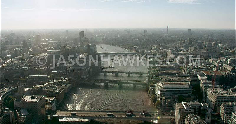 London Aerial Footage River Thames London Bridge to Blackfriars Bridges.