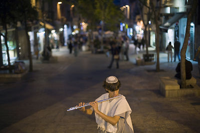 Israel - Jerusalem - Boys dressed in traditional Israel clothes play the flute and mandolin on Ben Yahuda Street