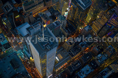 Looking down onto the New York Times Building in Midtown Manhattan